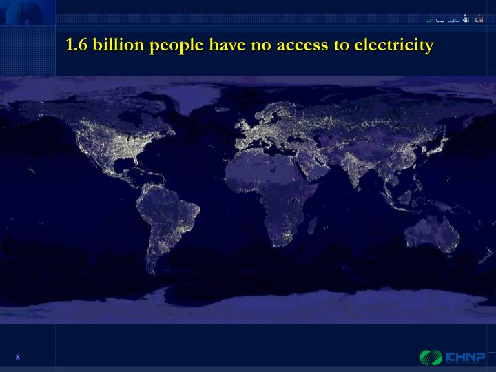 1.6 billion people have no access to electricity