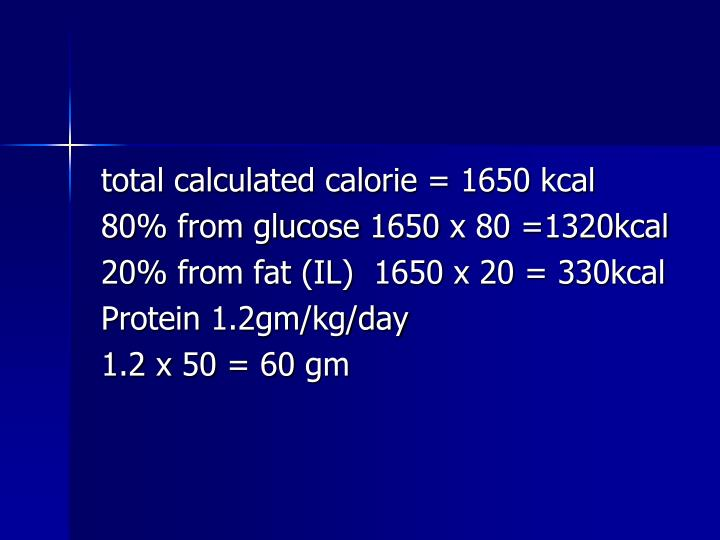 total calculated calorie = 1650 kcal