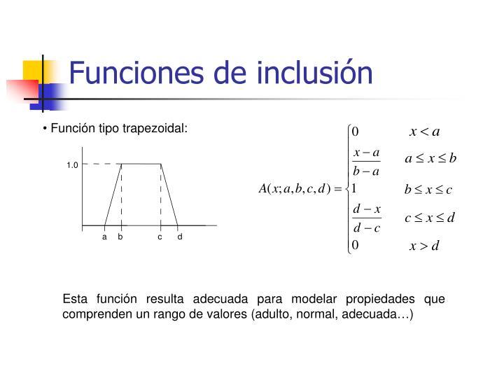 Funciones de inclusión