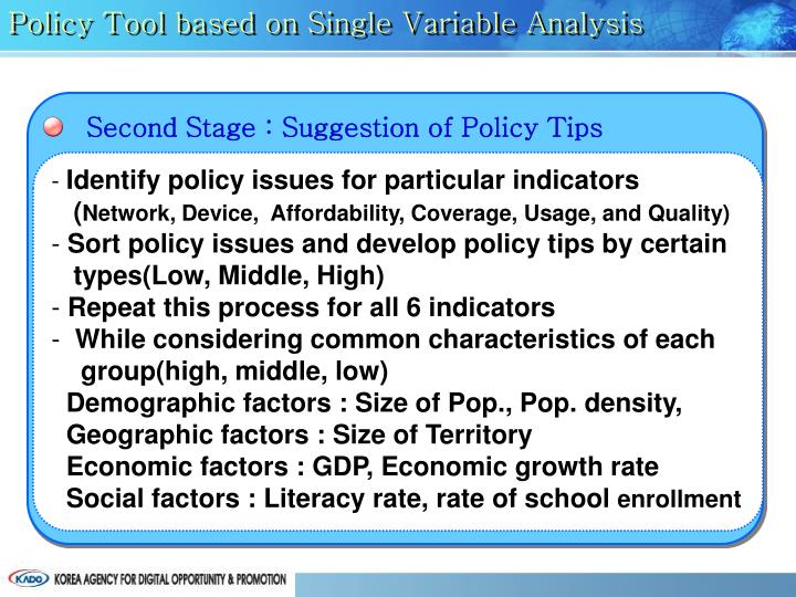 Policy Tool based on Single Variable Analysis