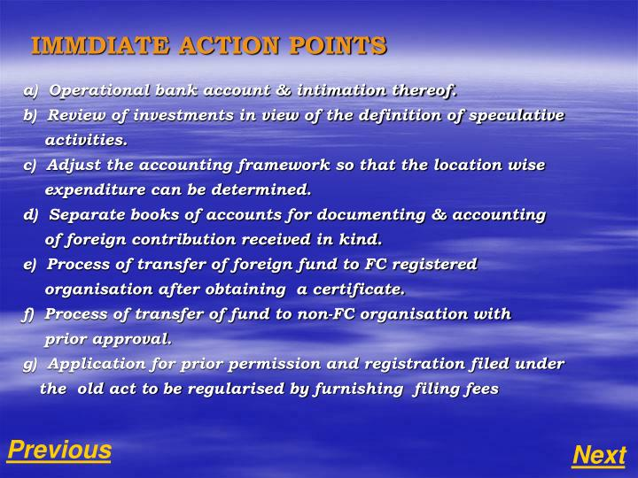 IMMDIATE ACTION POINTS