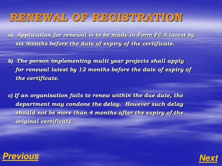RENEWAL OF REGISTRATION
