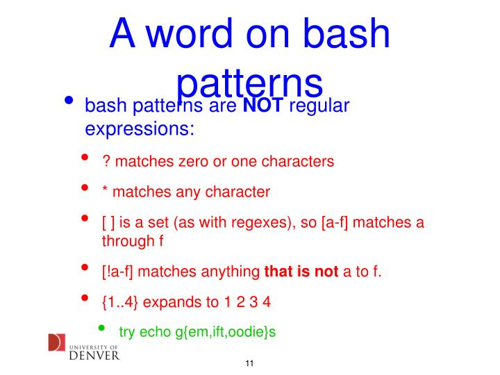 A word on bash patterns