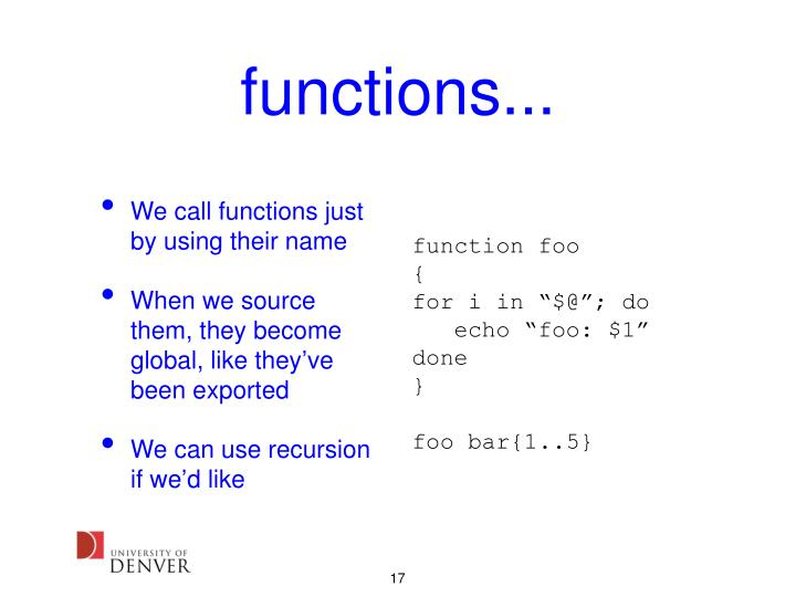 functions...