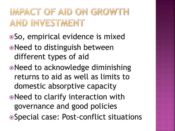 Impact of Aid on Growth and Investment