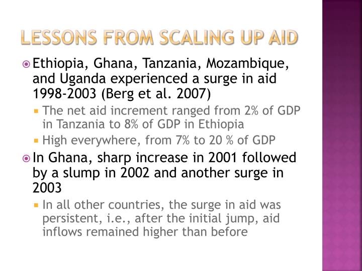 Lessons from scaling up aid