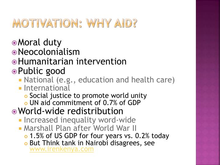 Motivation: Why aid?