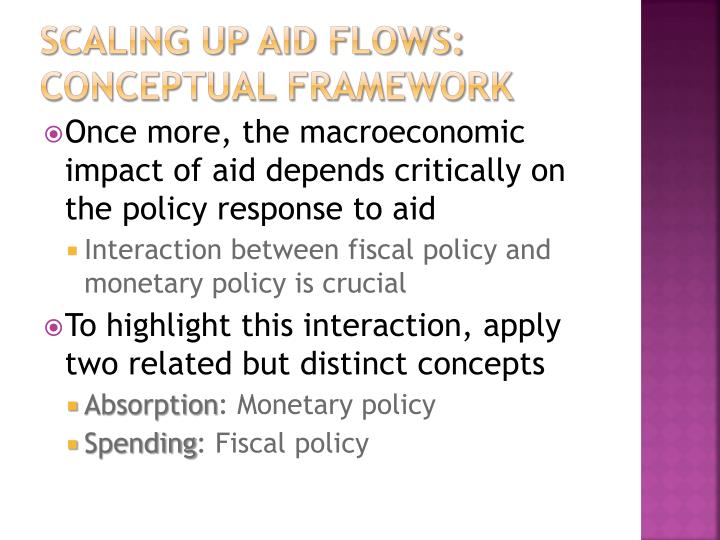 Scaling up aid flows: conceptual framework