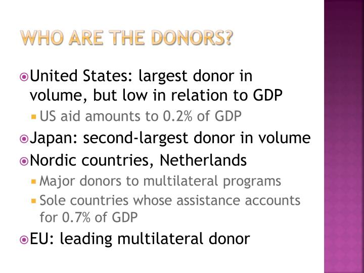 Who are the donors?
