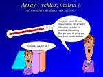 array vektor matris ett exempel som illustrerar behovet
