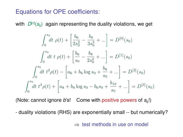 Equations for OPE coefficients: