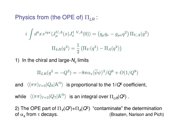 Physics from the ope of lr
