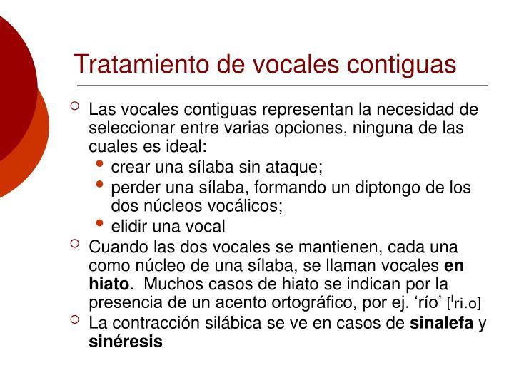 Tratamiento de vocales contiguas