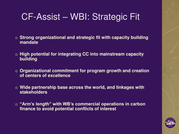 CF-Assist – WBI: Strategic Fit