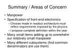 summary areas of concern