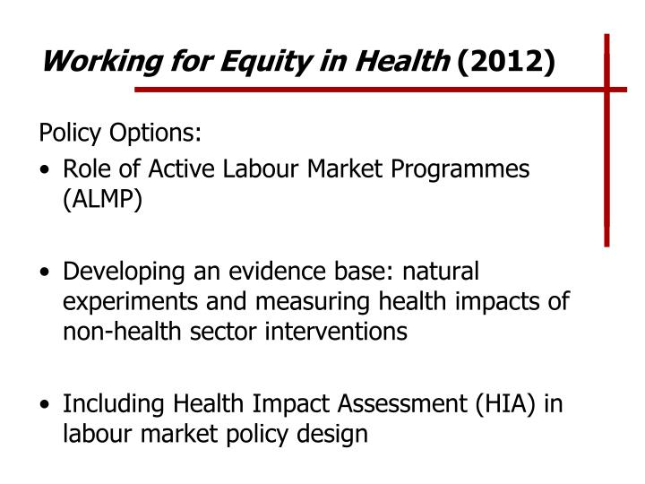Working for Equity in Health