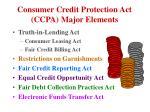 consumer credit protection act ccpa major elements
