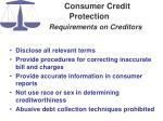 consumer credit protection requirements on creditors
