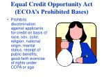 equal credit opportunity act ecoa s prohibited bases