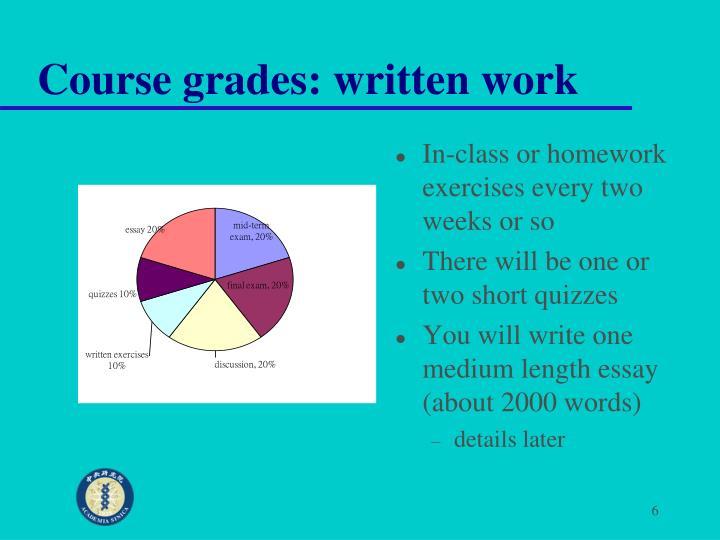 Course grades: written work