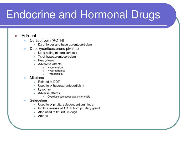 Endocrine and Hormonal Drugs