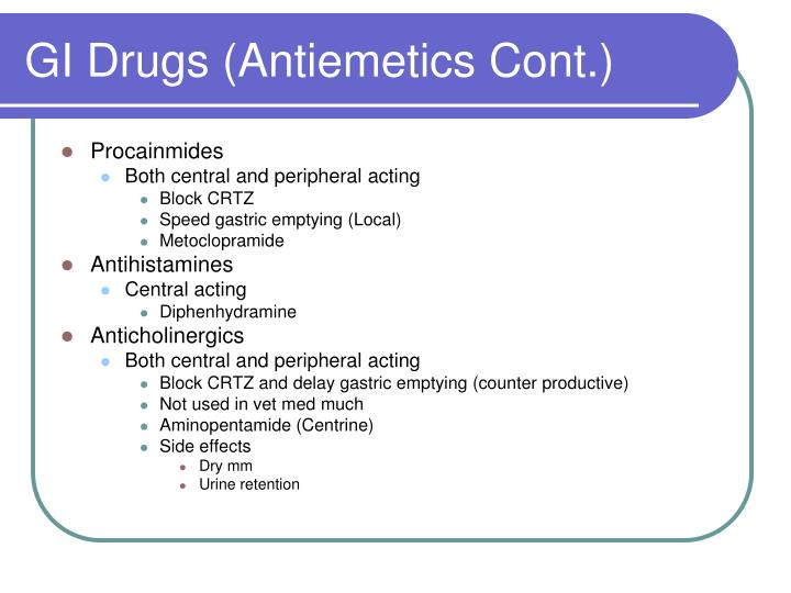 GI Drugs (Antiemetics Cont.)