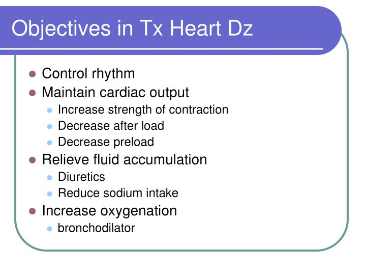 Objectives in Tx Heart Dz