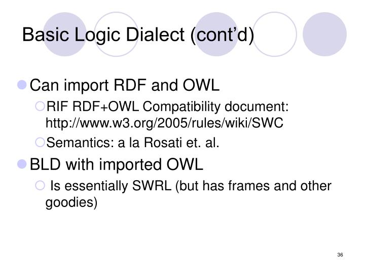 Basic Logic Dialect (cont'd)