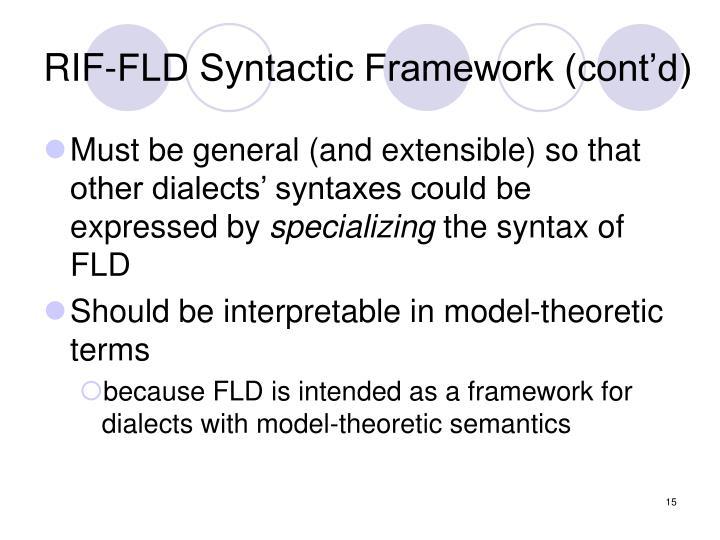 RIF-FLD Syntactic Framework (cont'd)
