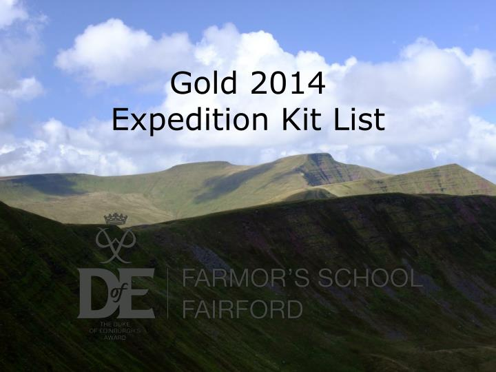 gold 2014 expedition kit list n.