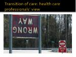transition of care health care professionals view