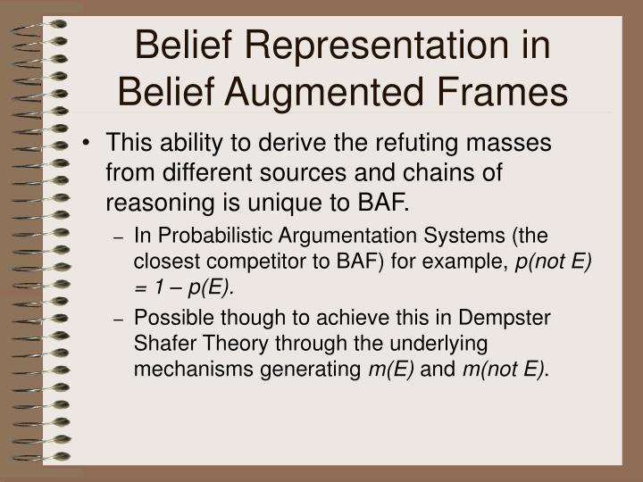 Belief Representation in Belief Augmented Frames