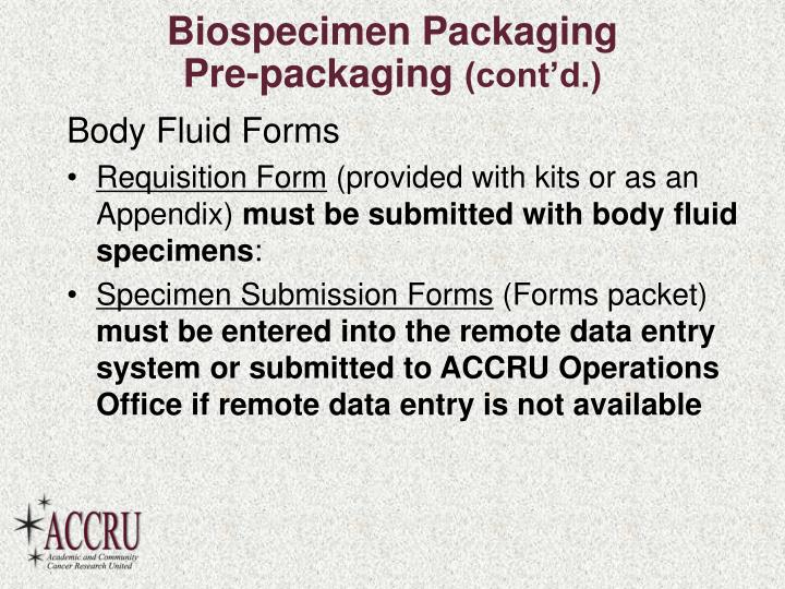 Biospecimen Packaging