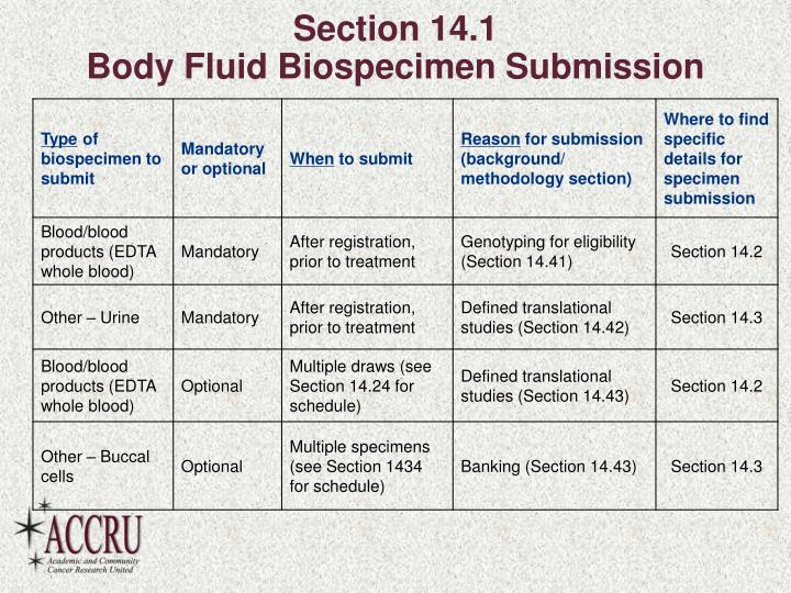 Section 14 1 body fluid biospecimen submission