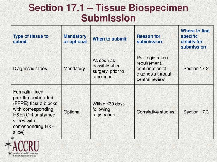 Section 17.1 – Tissue Biospecimen Submission