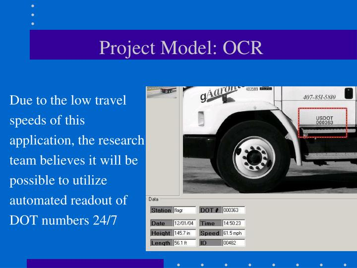 Project Model: OCR
