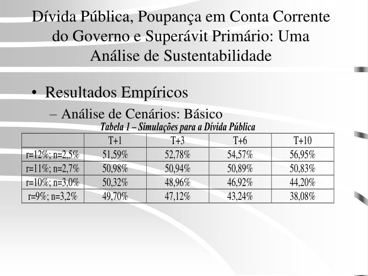 Dívida Pública, Poupança em Conta Corrente do Governo e Superávit Primário: Uma Análise de Sustentabilidade