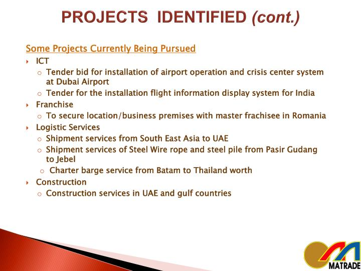 PROJECTS  IDENTIFIED