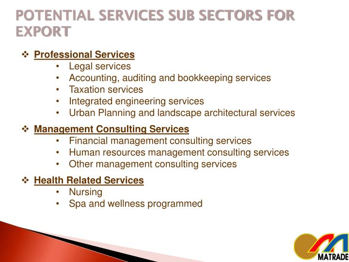 POTENTIAL SERVICES SUB SECTORS FOR