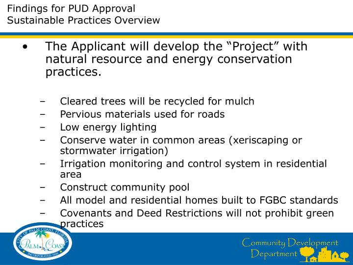Findings for PUD Approval