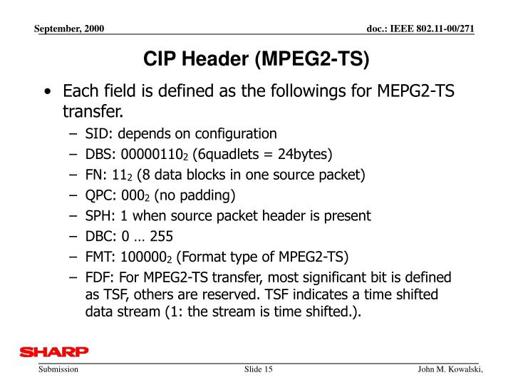 CIP Header (MPEG2-TS)