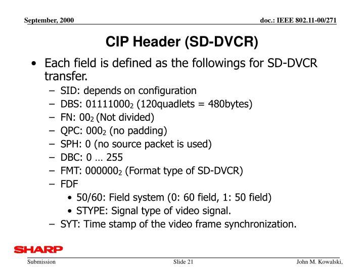 CIP Header (SD-DVCR)