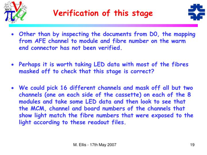 Verification of this stage