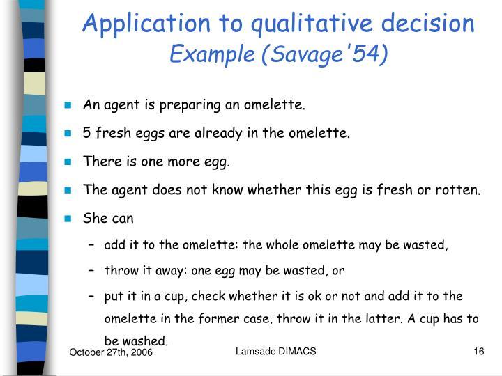 Application to qualitative decision