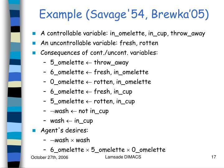 Example (Savage'54, Brewka'05)