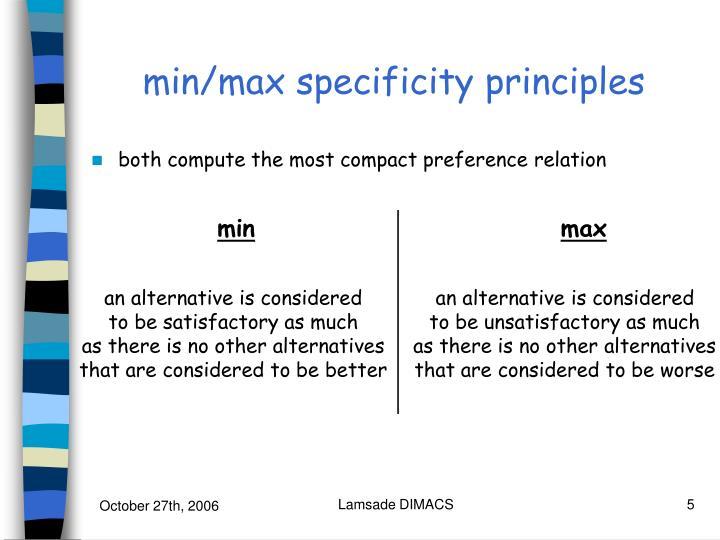 min/max specificity principles