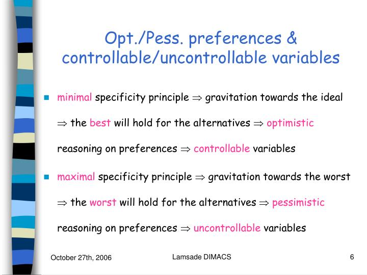 Opt./Pess. preferences & controllable/uncontrollable variables