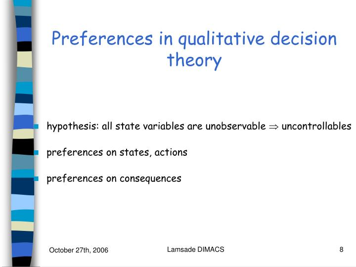 Preferences in qualitative decision theory