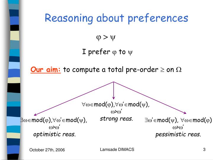 Reasoning about preferences