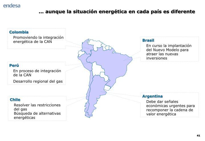 ... aunque la situación energética en cada país es diferente